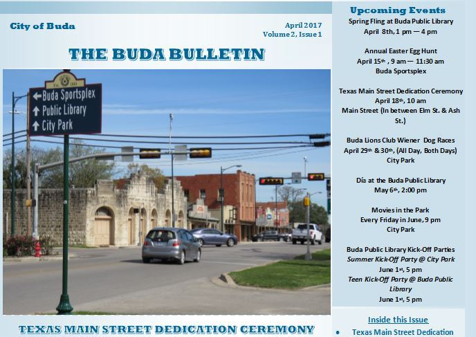 The Buda Bulletin - April 2017 Pic
