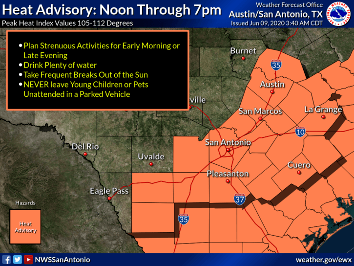 Heat Advisory - June 9, 2020