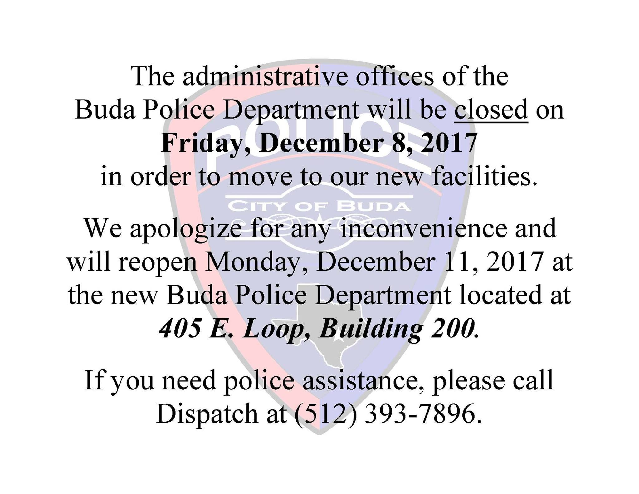 Police Dept. Closed