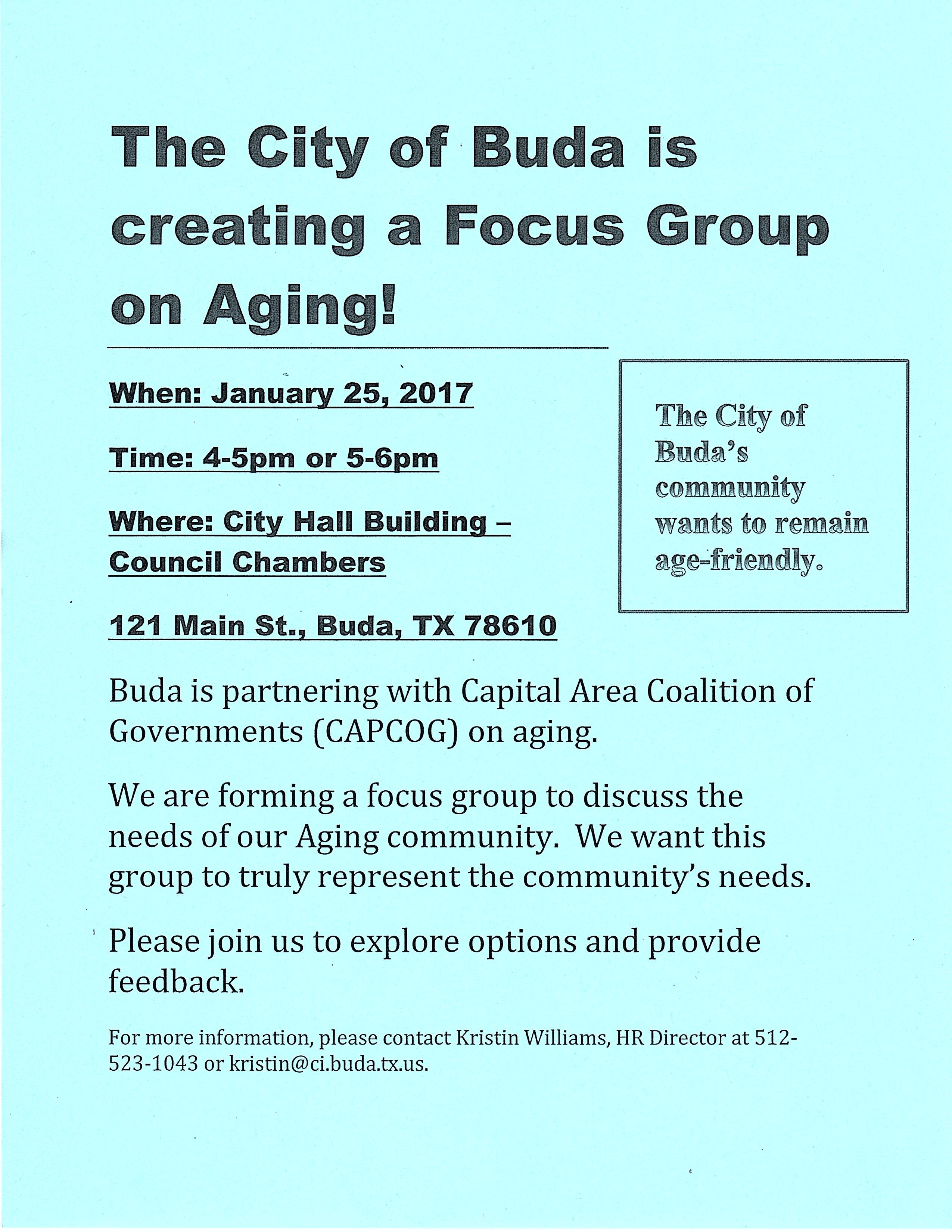 Flyer of Focus Group on Aging