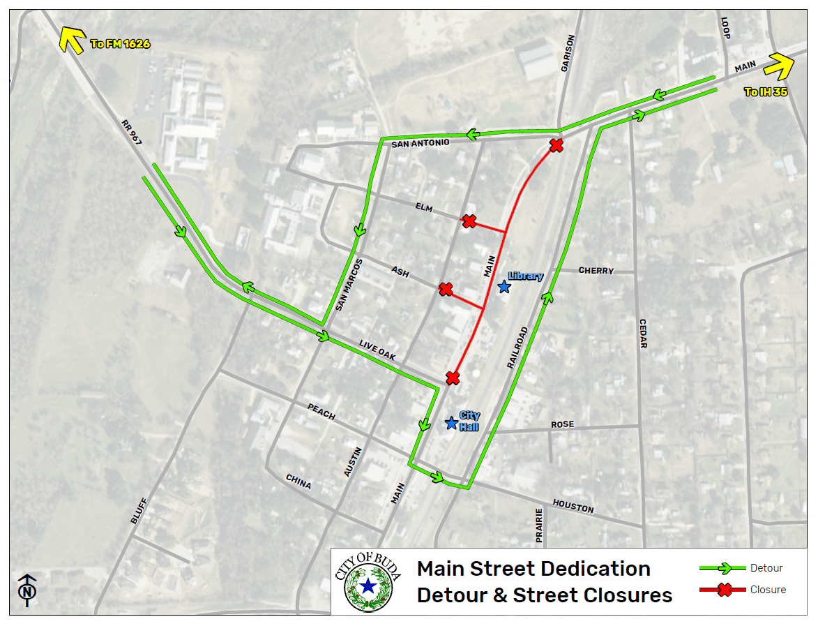 Main Street Dedication Ceremony Road Closures-Detour