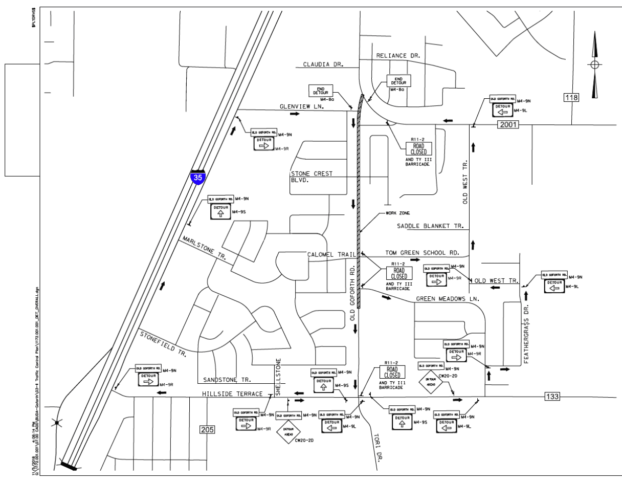 Old Goforth Closure - Between FM 2001 and Green Meadows Lane