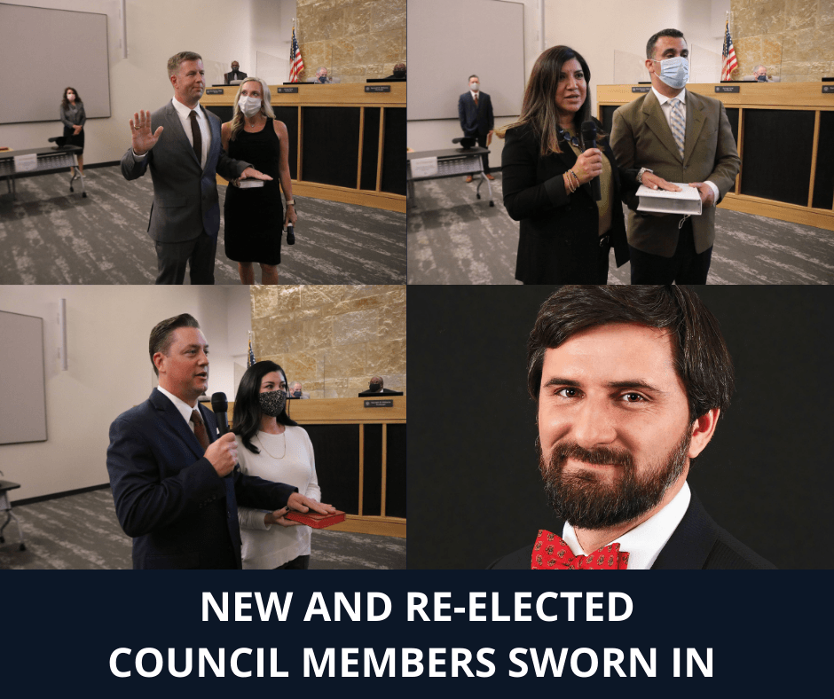 NEW AND RE-ELECTED COUNCIL MEMBERS SWORN IN