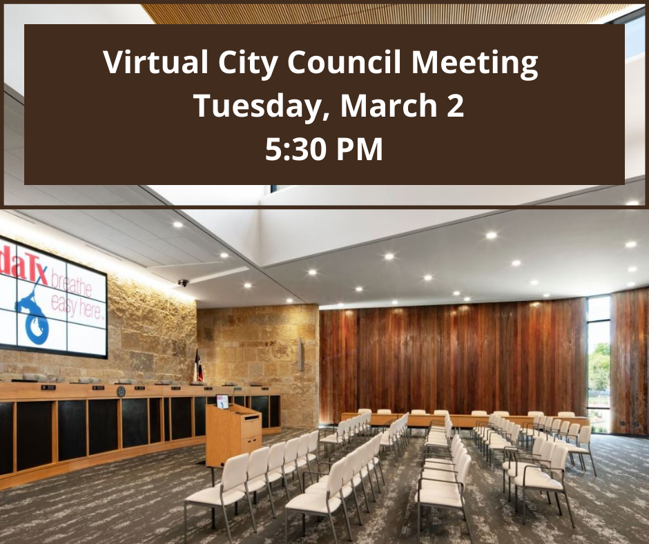 Virtual City Council Meeting For Tuesday, March 2